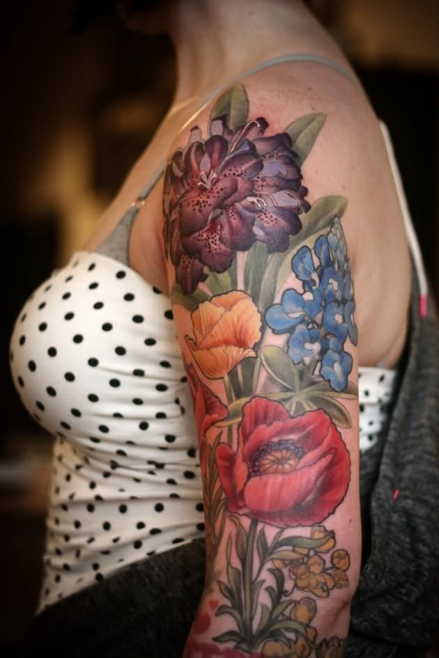 Flower Half Sleeve Tattoos Women