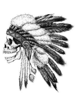 native american skull indian head tattoos nezu chief tattoo motohiro headdress ink skullspiration drawings drawing society6 skulls half indians iroquois