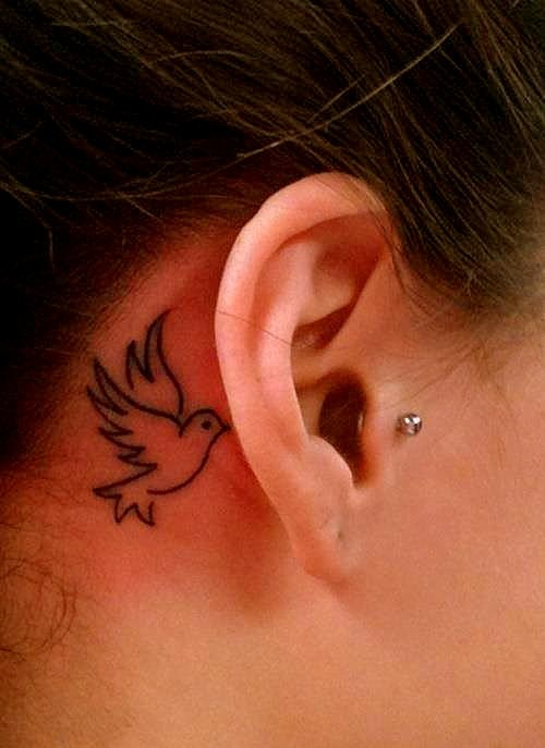 Bird Tattoo Behind Ear : tattoo, behind, Behind, Tattoos