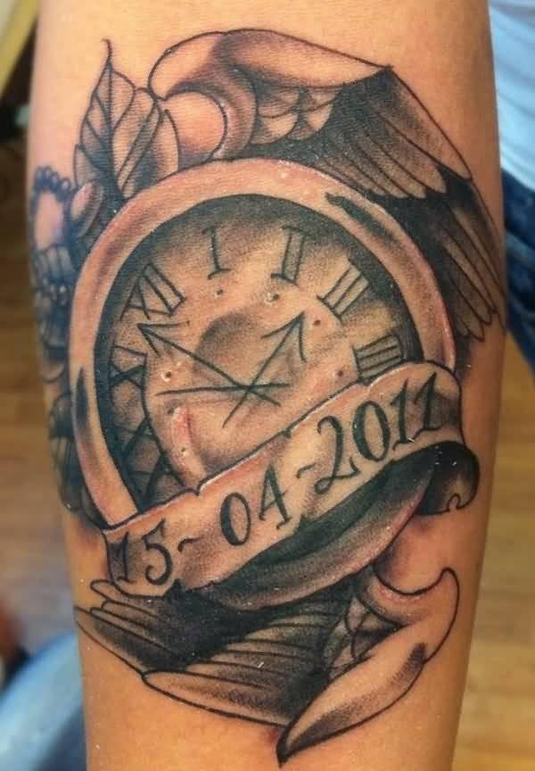 Roman Numeral Clock Tattoo : roman, numeral, clock, tattoo, Roman, Numeral, Clock, Tattoo, Stencil, Design