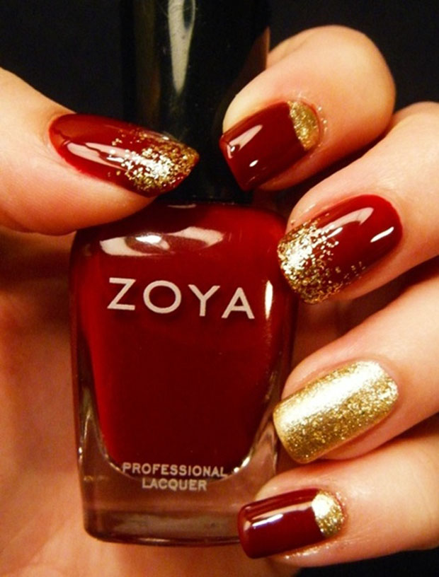 Gold And Red Nails : nails, Designs, Trendy, Girls