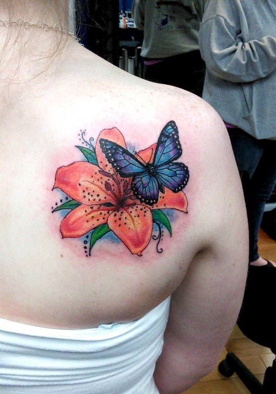 Butterfly And Flower Tattoos : butterfly, flower, tattoos, Butterfly, Flower, Tattoos