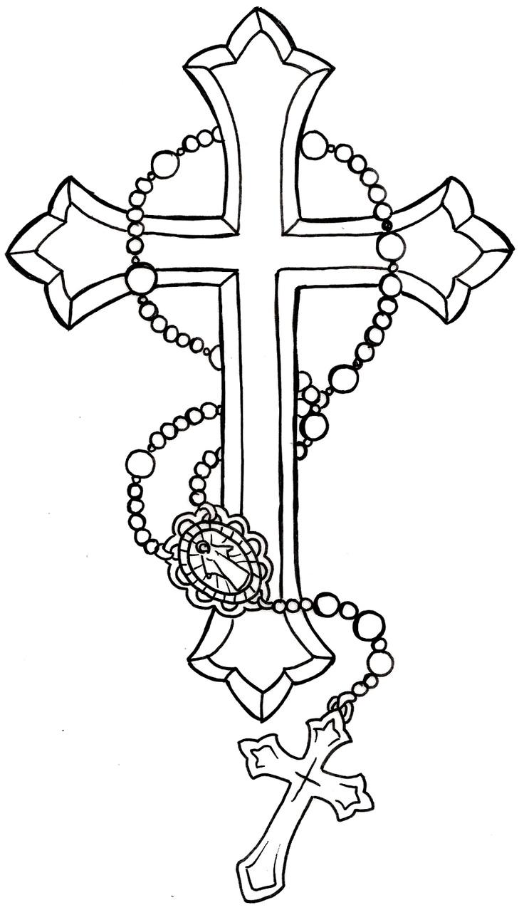Cross Tattoo Outline : cross, tattoo, outline, Black, Cross, Rosary, Tattoo, Stencil, Metacharis