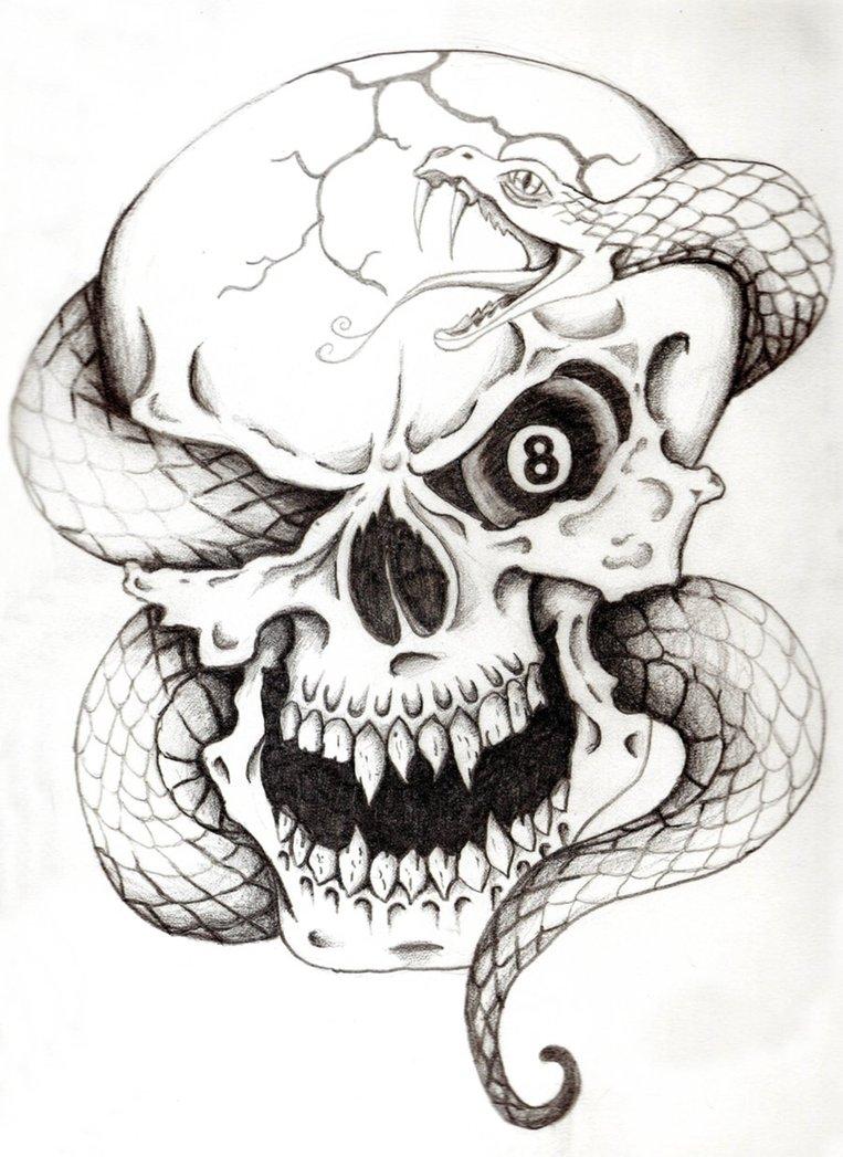 Skull Snake Tattoos : skull, snake, tattoos, Amazing, Skull, Snake, Tattoos