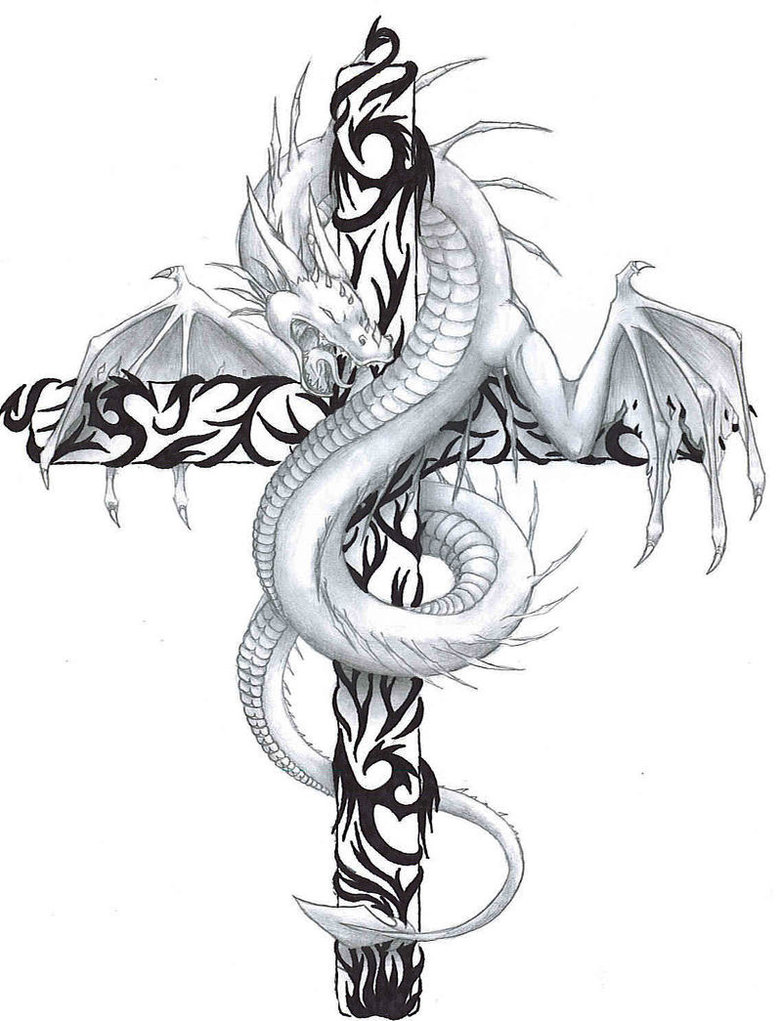 Dragon And Cross Tattoo : dragon, cross, tattoo, Dragon, Cross, Tattoos, Designs, Pictures
