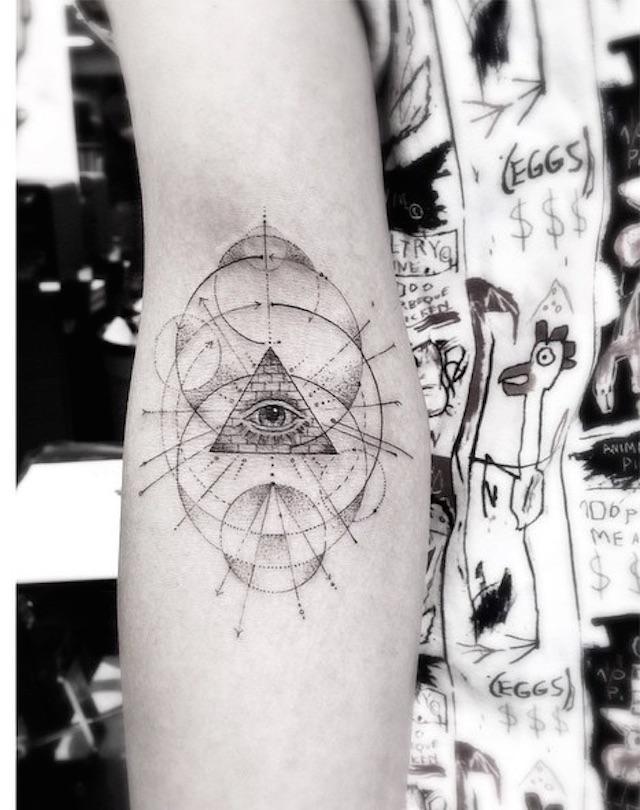 Geometric Eye Tattoo : geometric, tattoo, Black, Geometric, Illuminati, Tattoo, Right, Forearm