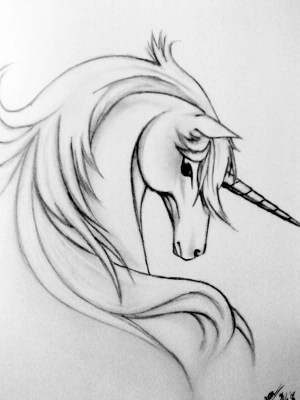 unicorn outline head tattoo grey tattoos watercolor leg side