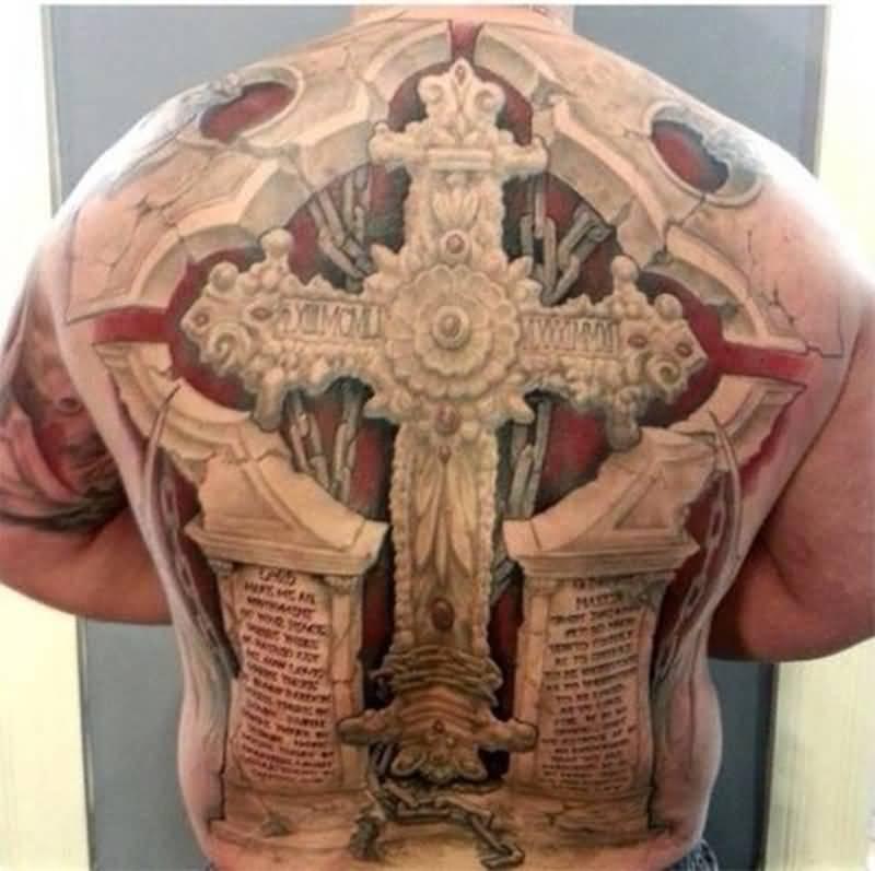 Amazing 3d Cross Tattoo On Full Back