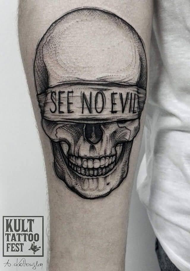 No Evil Tattoo : tattoo, Black, Blindfold, Skull, Tattoo