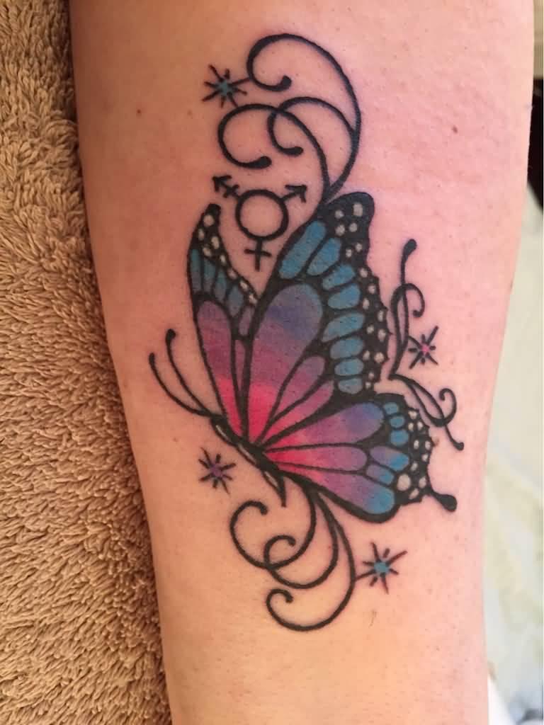 Pink Butterfly Tattoos : butterfly, tattoos, Butterfly, Tattoo, Design