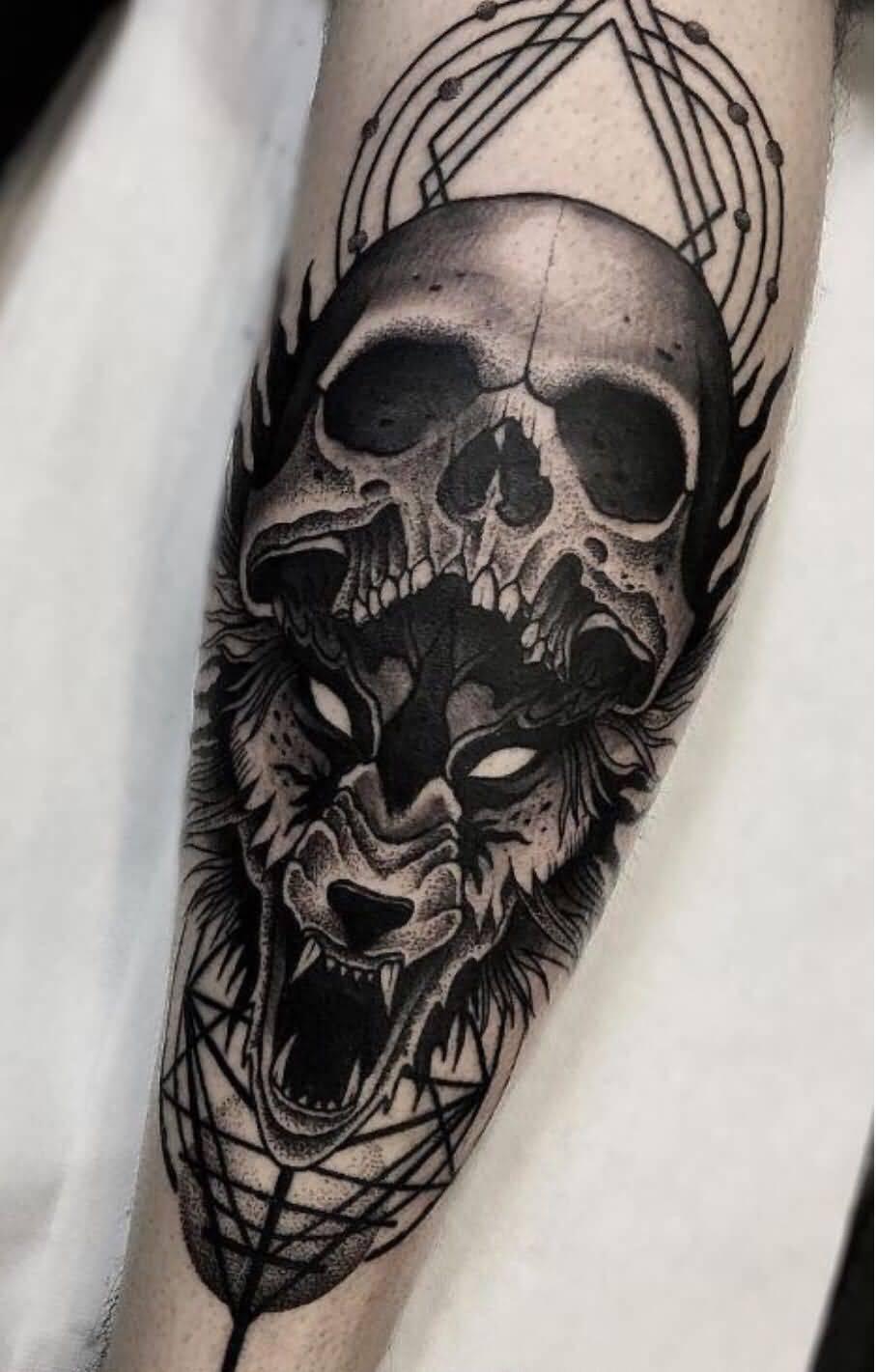 Wolf Skull Tattoo Designs