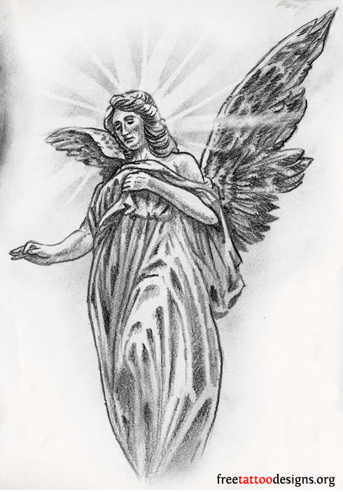 Female Guardian Angel Drawing : female, guardian, angel, drawing, Angel, Tattoos, Designs, Meanings