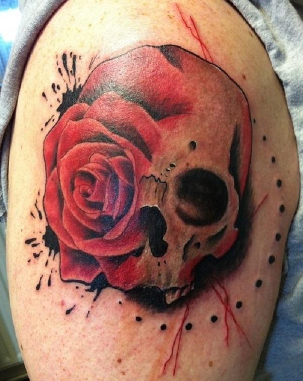 Rose And Skull Tattoo : skull, tattoo, Skull, Roses, Tattoos, Women