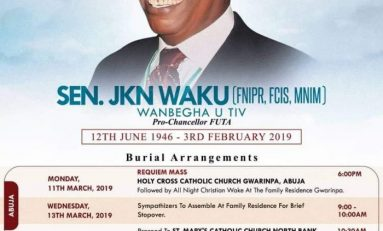 JKN Waku To Be Buried Thursday in Benue