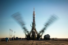 The Soyuz TMA-11M rocket, adorned with the logo of the Sochi Olympic Organizing Committee and other related artwork, is seen in this long exposure photograph, as the service structure arms are raised into position at the launch pad on Tuesday, Nov. 5, 2013, Baikonur Cosmodrome in Kazakhstan. Launch of the Soyuz rocket is scheduled for November 7 and will send Expedition 38 Soyuz Commander Mikhail Tyurin of Roscosmos, Flight Engineer Rick Mastracchio of NASA and Flight Engineer Koichi Wakata of the Japan Aerospace Exploration Agency on a six-month mission aboard the International Space Station. Photo Credit: (NASA/Bill Ingalls)