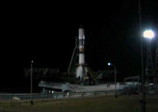 The ISS Progress 53 resupply ship atop a Soyuz booster awaits liftoff from the Site 31 launch pad at the Baikonur Cosmodrome in Kazakhstan. Image Credit: NASA TV