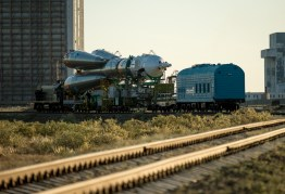 The Soyuz TMA-09M spacecraft is rolled out by train to the Baikonur Cosmodrome launch pad, Sunday, May 26, 2013, in Kazakhstan. The launch of the Soyuz rocket to the International Space Station (ISS) with Expedition 36/37 Soyuz Commander Fyodor Yurchikhin of the Russian Federal Space Agency (Roscosmos), Flight Engineers; Luca Parmitano of the European Space Agency, and Karen Nyberg of NASA, is scheduled for Wednesday May 29, Kazakh time. Yurchikhin, Nyberg, and, Parmitano, will remain aboard the station until mid-November. Photo credit: (NASA/Bill Ingalls)