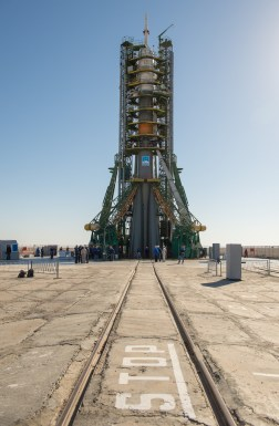 The Soyuz rocket is seen on its launch pad shortly after being lifted into its upright position on Monday, Sept. 23, 2013, at the Baikonur Cosmodrome in Kazakhstan. Launch of the Soyuz rocket is scheduled for September 26 and will send Expedition 37 Soyuz Commander Oleg Kotov, NASA Flight Engineer Michael Hopkins and Russian Flight Engineer Sergei Ryazansky on a five and a half-month mission aboard the International Space Station. Photo Credit: (NASA/Carla Cioffi)