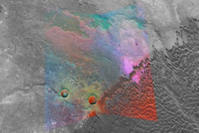 """Image Caption: NASA's Mars Reconnaissance Orbiter is providing new spectral """"windows"""" into the diversity of Martian surface materials. Here in a volcanic caldera, bright magenta outcrops have a distinctive feldspar-rich composition. Credit: NASA/JPL/JHUAPL/MSSS"""