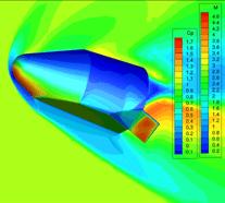 Computational Fluid Dynamics (CFD) image of Blue Origin's next-generation Space Vehicle. Image via Blueorigin.com