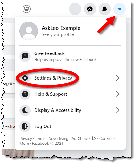 Facebook Settings & Privacy link
