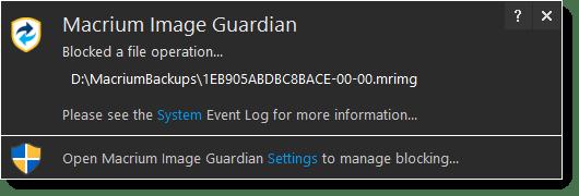 Macrium Image Guardian in Action