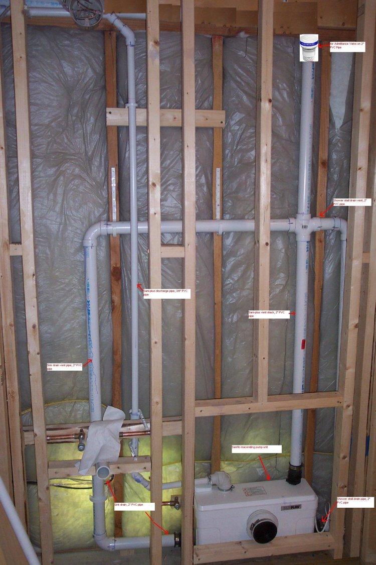 Bathroom plumbing Installing drain and vent