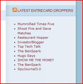 Your Entrecard Dropper List