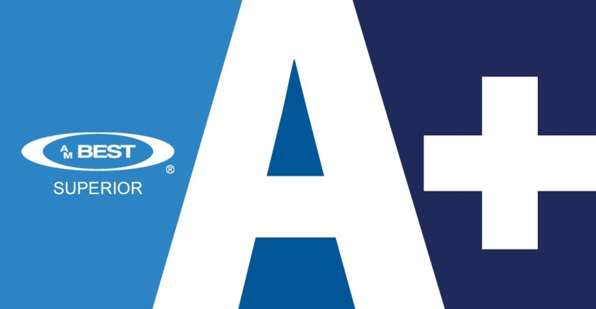 A graphic of and A+ alongside the AM Best logo