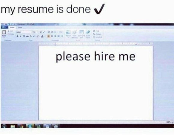 "Meme of a resume that simply says ""please hire me"" in large type"