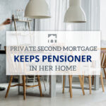 Text over that that reads Private Second Mortgage Keeps Pensioner in her Home with table, chairs and lamps in background