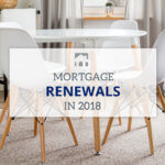Text: Mortgage Renewal in 2018 with a background of a white table and chairs