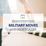 Text Overlay: Demystifying Military Moves and Mortgages - background of a man putting books in a moving box