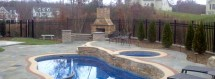 Beautiful Pool With Bluestone Patios And Stone Fireplace