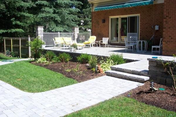 paver patios . wood deck