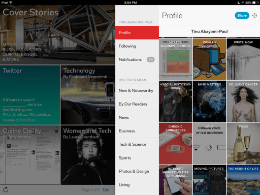 Magazines that you can sort your link collection into on Flipboard.