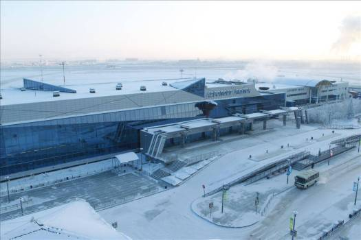 Yakutsk Airport, Russia, in winter.