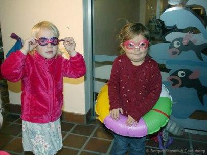 Testing Little Monster's swim gear