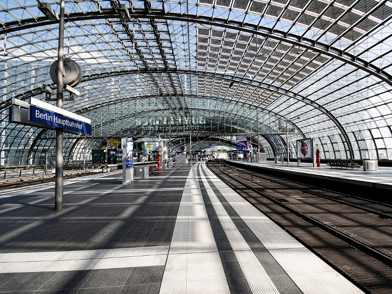 An empty Berlin Central Station. Image by Rebecca Holm from Pixabay.