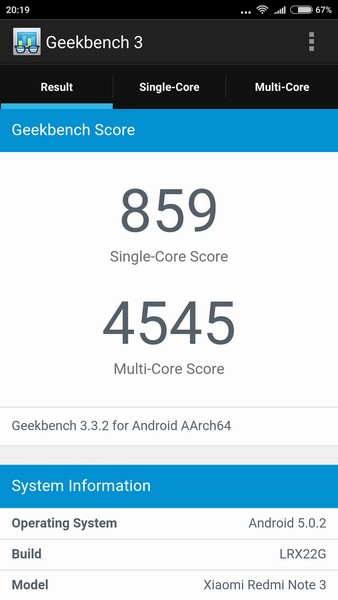 Xiaomi Redmi Note 3 - Geekbench
