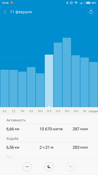 Xiaomi Mi Band 1S - Activity stat