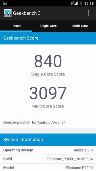 Elephone P9000 - Geekbench 3