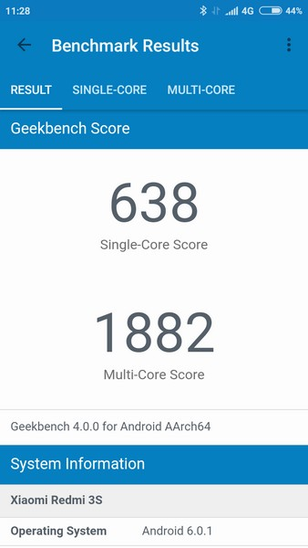 Xiaomi Redmi 3S Review - Geekbench 4