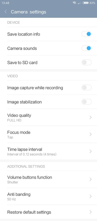 Xiaomi Redmi Pro Review - Camera settings