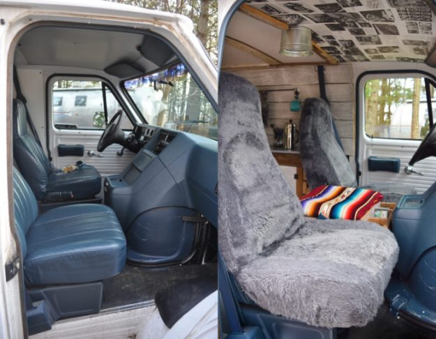 Camper Van Front Seat Before and After