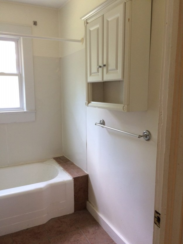 Bathroom storage before renovations.