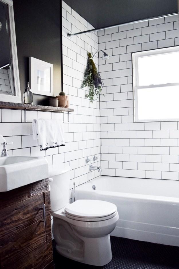 Small, farmhouse modern, remodeled bathroom