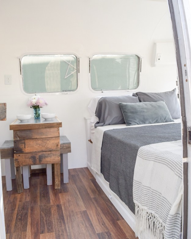 Bed and Table in an Airstream