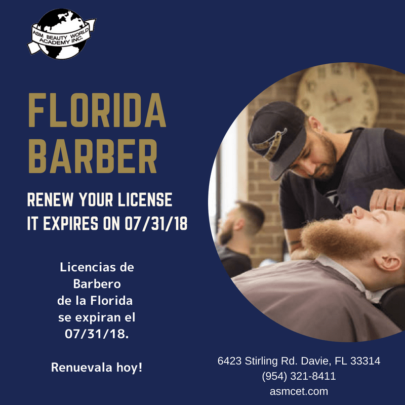 Florida Barber's License Renewal