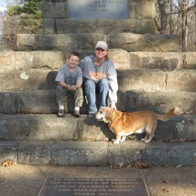 My son, our dog and myself at the Cross